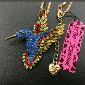 New Betesy Johnson blue hummingbird brooch/necklac